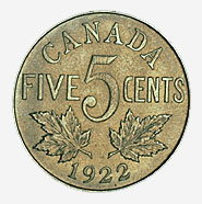 Dominion du Canada, 5 cents, 1922