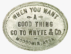 Whyte & Co., Moosomin, jeton de 50 cents, 1893