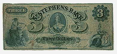 St. Stephen's Bank, billet de 3 $, 1873