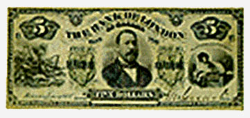Bank of London, billet de 5 $, 1883