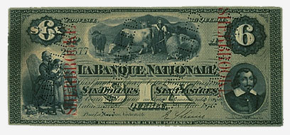 La Banque Nationale, billet de 6 $, 1870