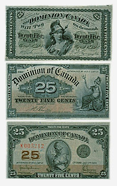 Dominion du Canada, 3 shinplasters de 25 cents, 1870, 1900, 1923