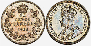 10 cents 1936 Dot - Canada