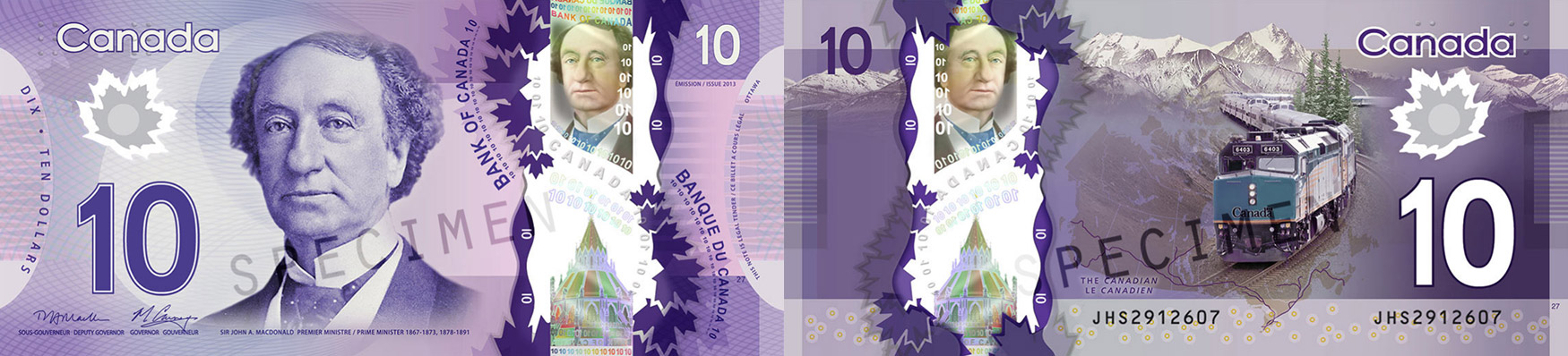 10 dollars 2011 to 2018 - Canada Banknote