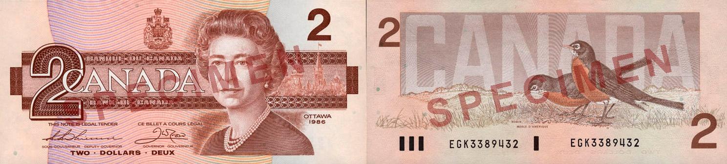 billet de 2 dollars canadien rare