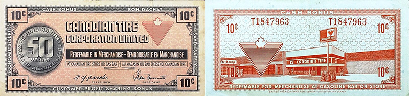 10 cents - Canadian Tire - 50 years - 1972