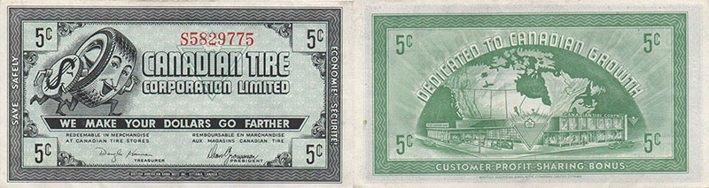 5 cents - Canadian Tire - Gas Bar Coupons - 1958