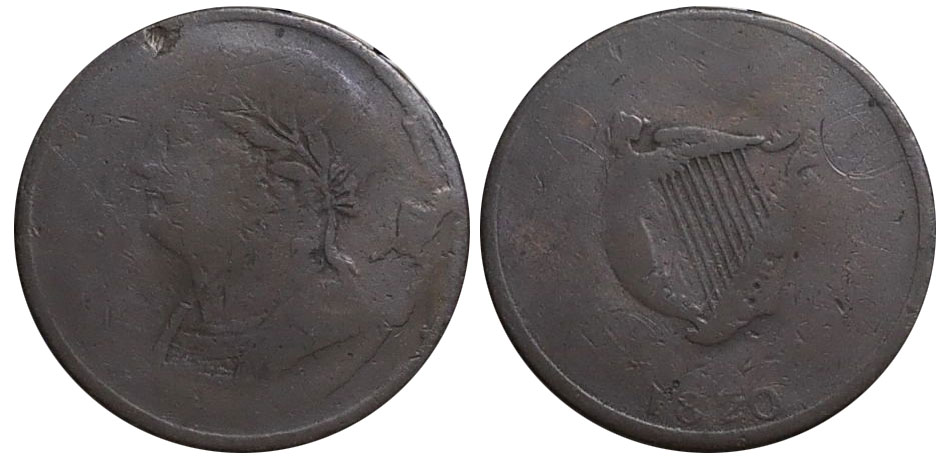 AG-3 - Imitation Bust and Harp - 1/2 penny 1820