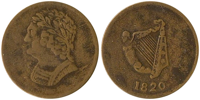 F-12 - Bust and Harp - 1/2 penny 1820