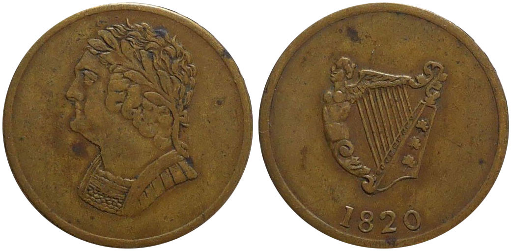 VF-20 - Bust and Harp - 1/2 penny 1820