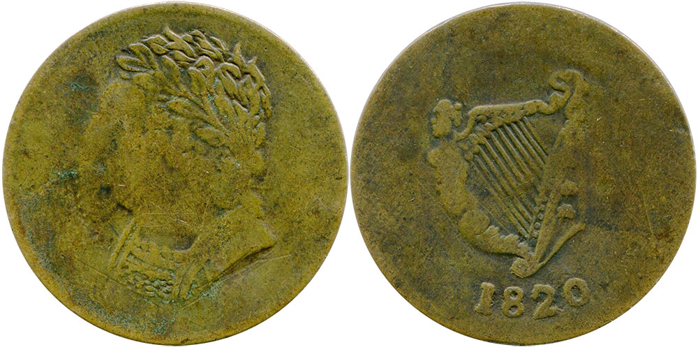VG-8 - Imitation Bust and Harp - 1/2 penny 1820