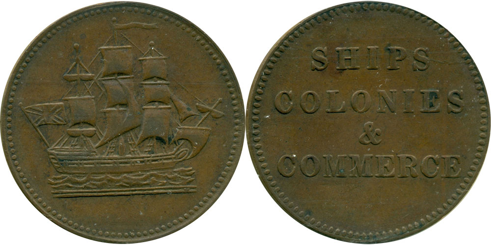 EF-40 - Ships, colonies & commerce - 1/2 penny 1835
