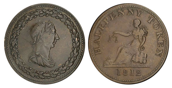 Thomas Halliday/Tiffin - 1/2 penny 1812