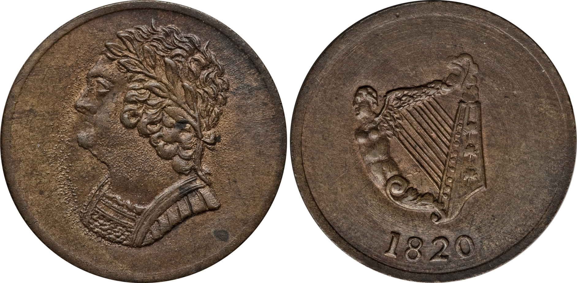 Bust and Harp - 1/2 penny 1820