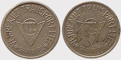 Canadian Cab Guelph >> Coins and Canada - Transportation tokens - Train, transit ...
