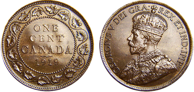 Coins And Canada 1 Cent 1919 Canadian Coins Price Guide Value Errors And Varieties