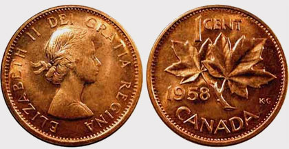 Coins And Canada 1 Cent 1958 Canadian Coins Price Guide And Values