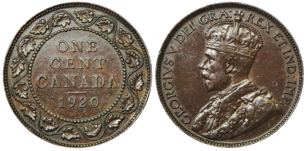 Coins And Canada 1 Cent 1920 Canadian Coins Price Guide And Values