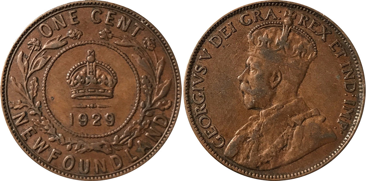 Coins And Canada 1 Cent 1929 Newfoundland Price Guide And Values