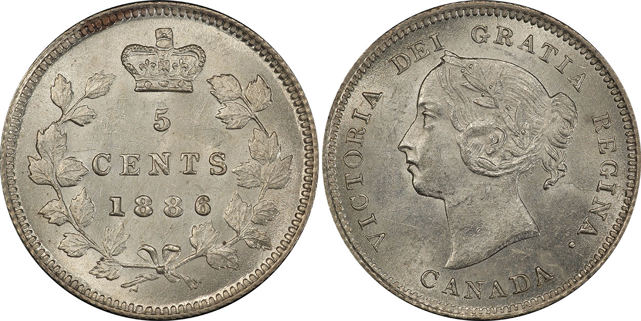 5 cents 1886