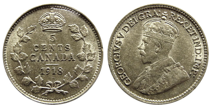 5 cents 1918